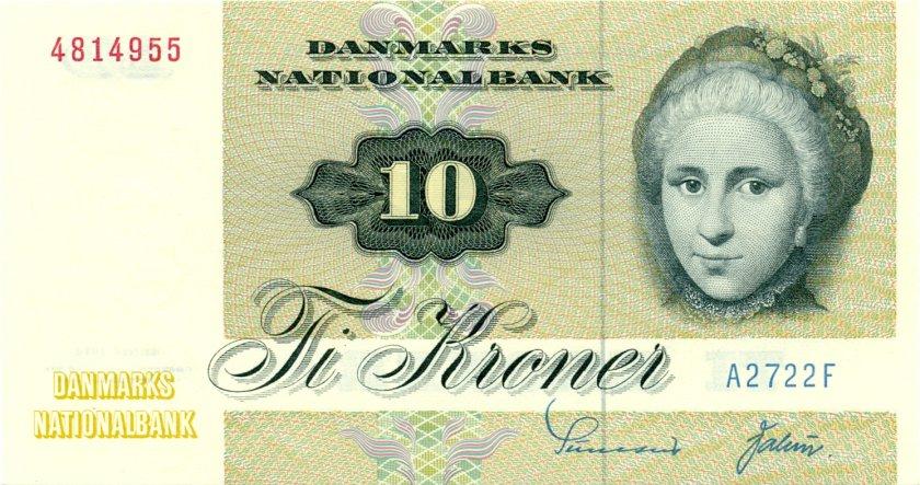 Denmark P48a 10 Kroner 1972 UNC
