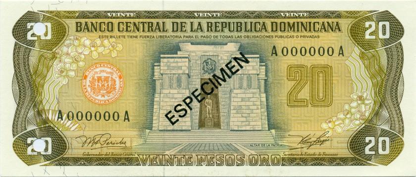 Dominican Republic P120as 20 Pesos Oro SPECIMEN 1978 UNC