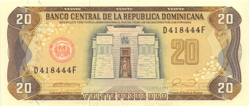 Dominican Republic P133 20 Pesos Oro 1990 UNC