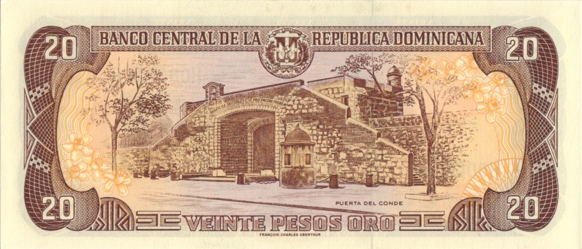 Dominican Republic P154b H000015R 20 Pesos Oro 1998 UNC