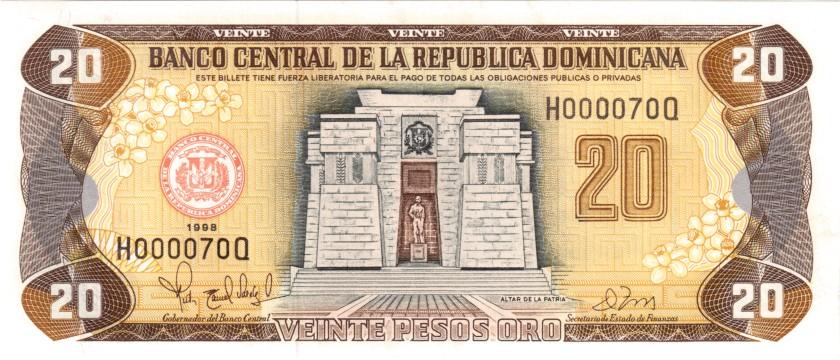 Dominican Republic P154b H000070Q 20 Pesos Oro 1998 UNC