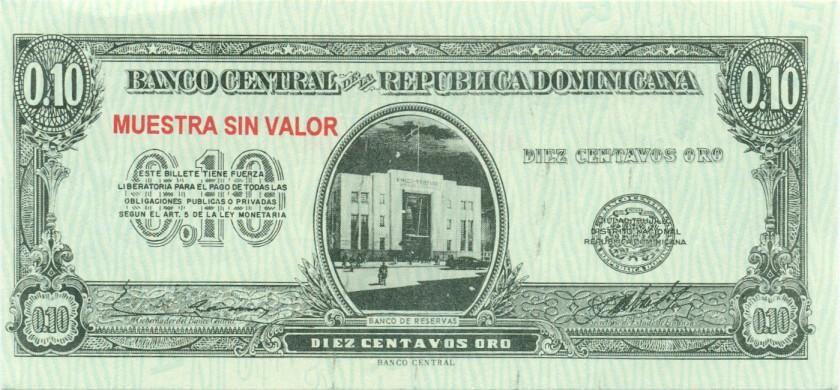 Dominican Republic P86s, P88s, P90s 10, 20, 50 Centavos Oro 3 banknotes SPECIMEN