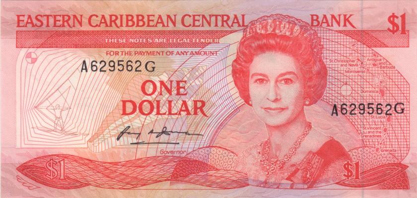 Eastern Caribbean States P21u 1 Dollar 1988-1989 UNC