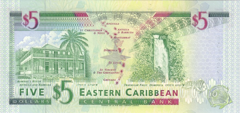 Eastern Caribbean States P31m 5 Dollars 1994 UNC