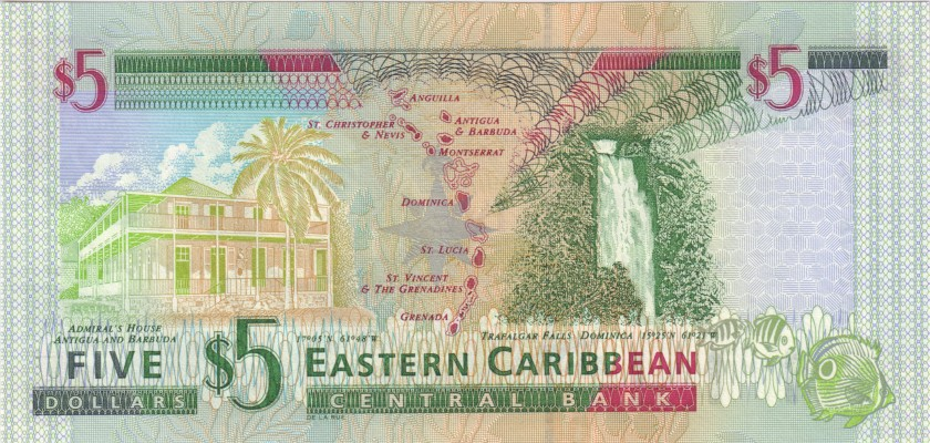 Eastern Caribbean States P37l 5 Dollars 2000 UNC