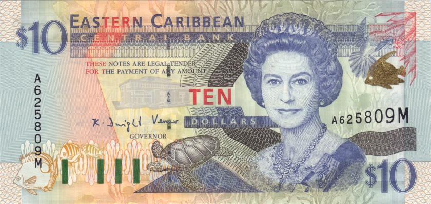 Eastern Caribbean States P38m 10 Dollars 2000 UNC
