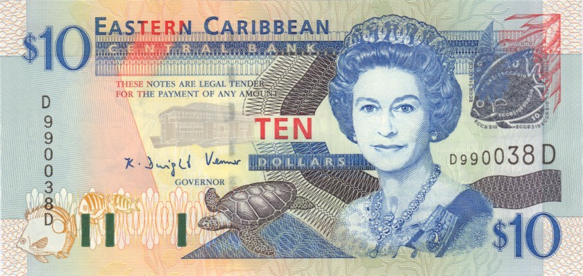 Eastern Caribbean States P43d 10 Dollars 2003 UNC