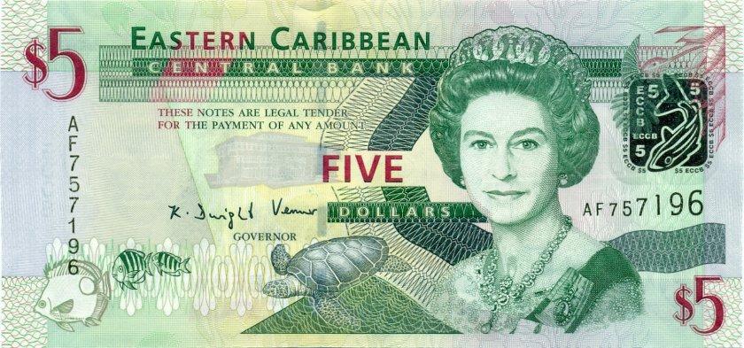 Eastern Caribbean States P47 5 Dollars 2008 UNC