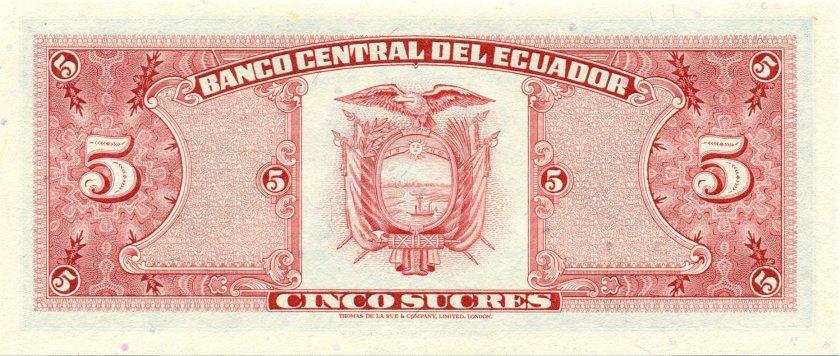 Ecuador P113c 5 Sucres 1980 UNC