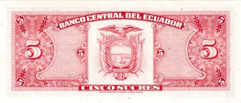 Ecuador P113c 5 Sucres Serie HU(2) 1980 UNC