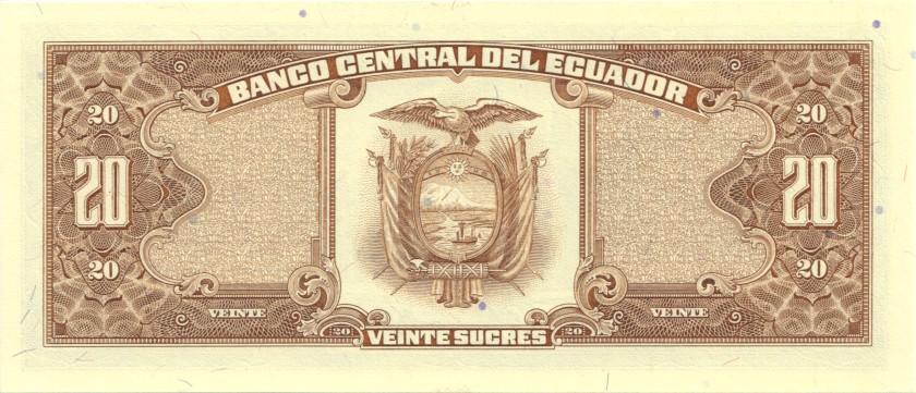 Ecuador P121Aa 20 Sucres 1988 UNC