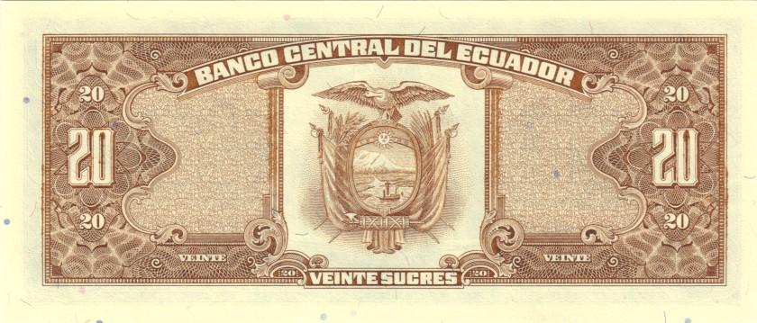 Ecuador P121Aa 20 Sucres Serie LQ 1988 UNC