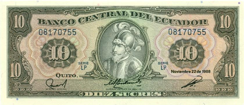Ecuador P121 10 Sucres 1988 UNC