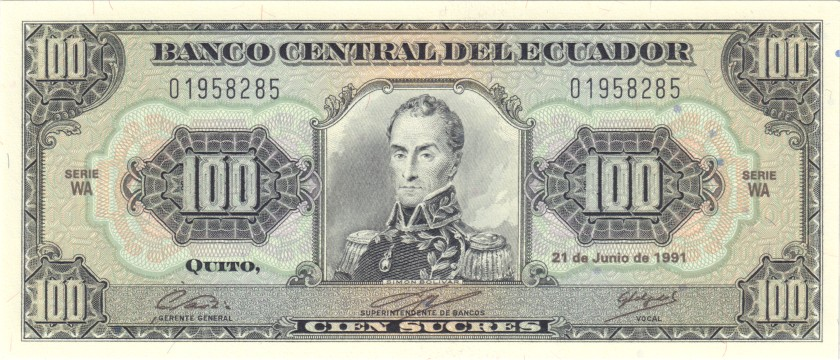 Ecuador P123Aa 100 Sucres Serie WA 21.06.1991 UNC