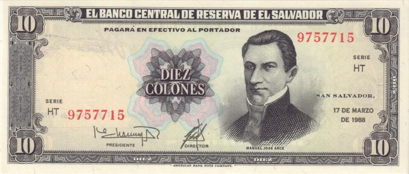 El Salvador P135b 10 Colones 1988 UNC