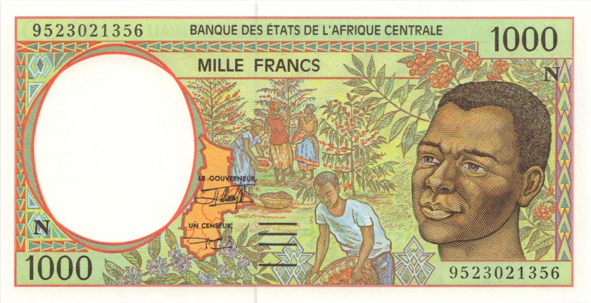 Central African States Equatorial Guinea P502Nc 1.000 Francs 1995 UNC