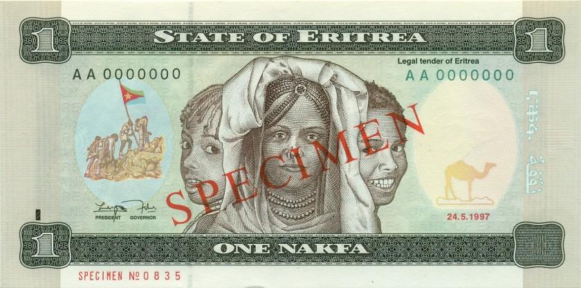 Eritrea P1s - P6s 1 - 100 Nakfa 6 banknotes SPECIMENS 1997 UNC
