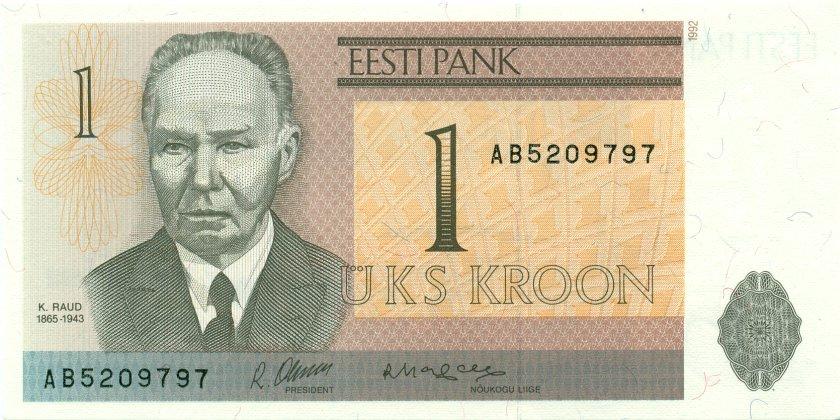Estonia P69 1 Kroon 1992 UNC