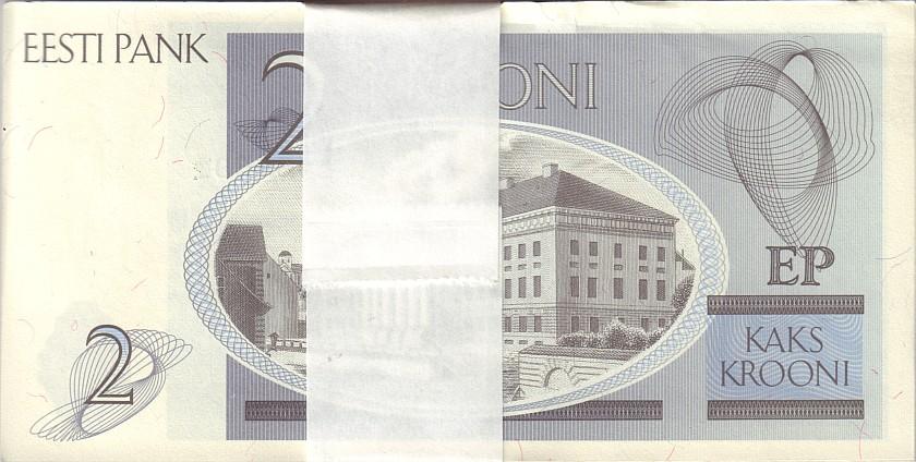 Estonia P70 2 Krooni Bundle 100 pcs 1992 UNC