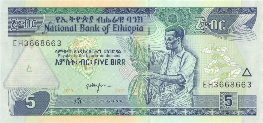 Ethiopia P47h 3668663 RADAR 5 Birr 2017 UNC