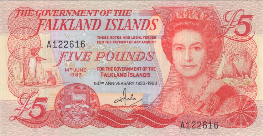 Falkland Islands P12a 5 Pounds 1983 UNC