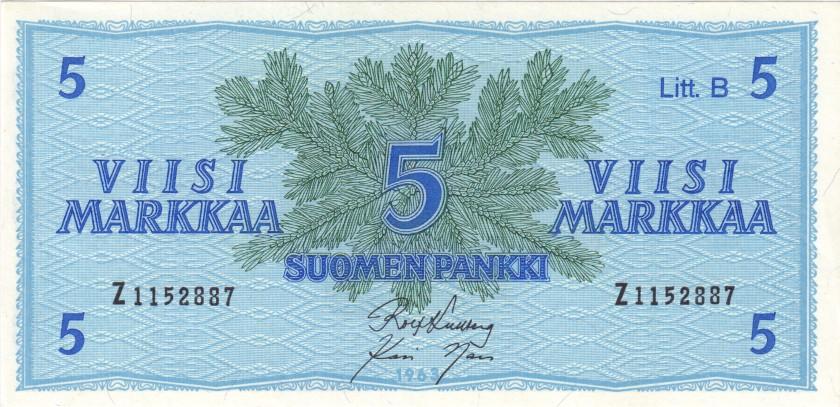Finland P106Aa(30) 5 Mark 1963 UNC