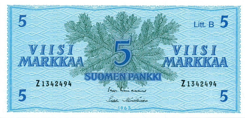 Finland P106Aa(55) 5 Mark 1963 UNC