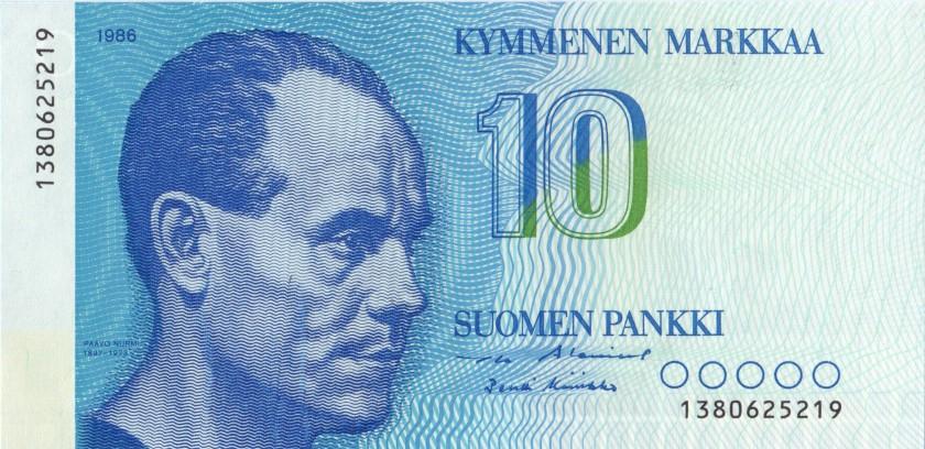 Finland P113a(15) 10 Mark 1986 UNC