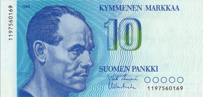 Finland P113a(6) 10 Mark 1986 UNC