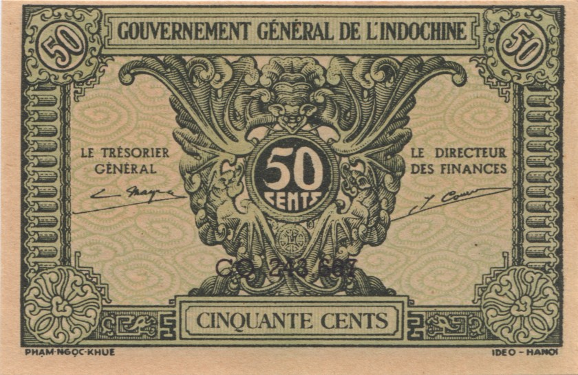 French Indochina P91a 50 Cents 1942 UNC