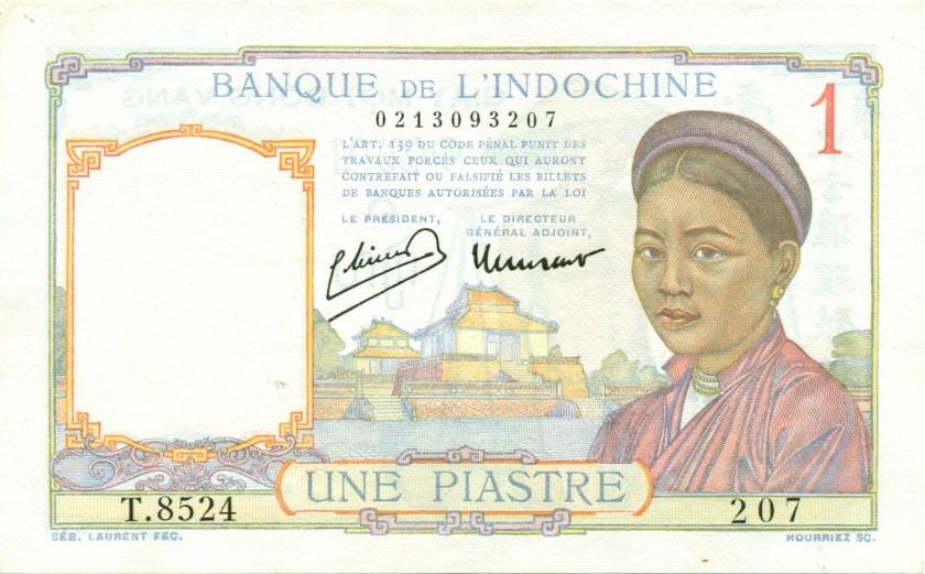 French Indochina P54c 1 Piastre 1936 AU-UNC