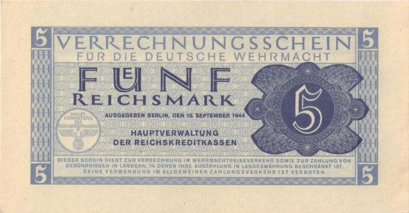 Germany P-M39 5 Reichsmark 1944 UNC