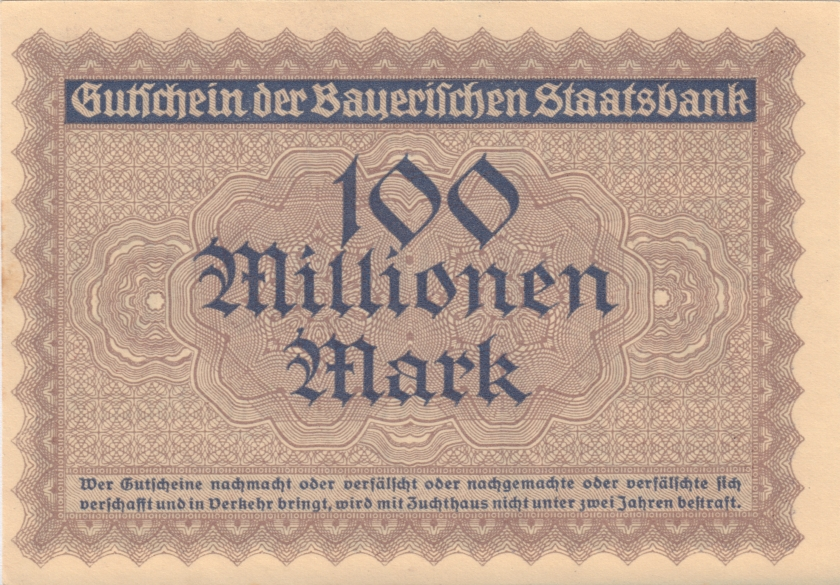 Germany Bavaria Bayerische Staatsbank 100.000.000 Mark 1923 AU