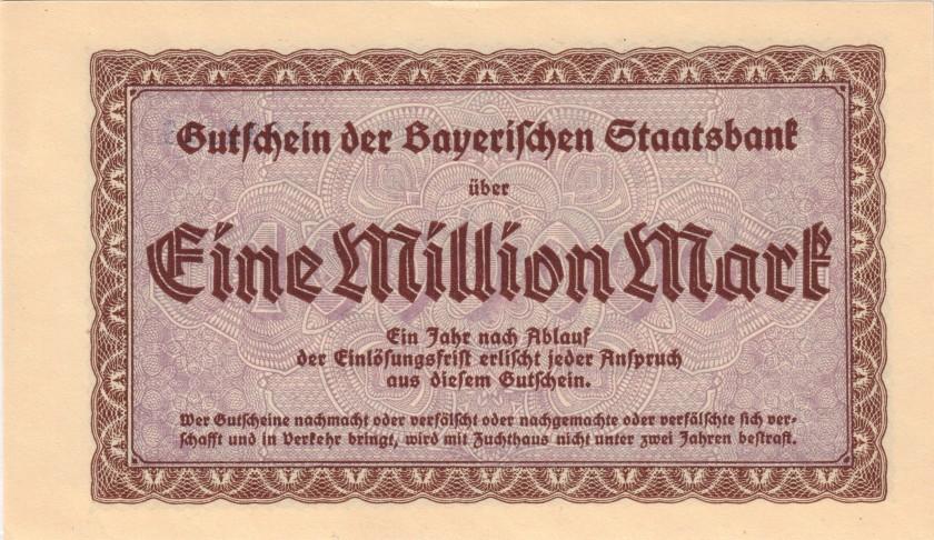 Germany Bavaria Bayerische Staatsbank Blue serial 1.000.000 Mark 1923