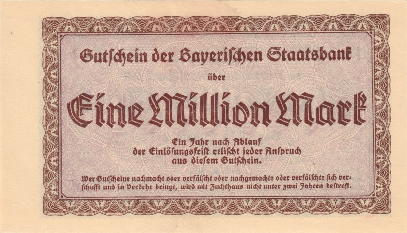 Germany Bavaria Bayerische Staatsbank Green serial 1.000.000 Mark 1923 AU
