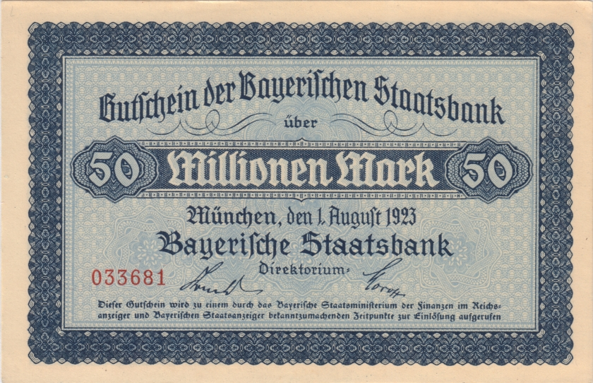 Germany Bavaria Bayerische Staatsbank 50.000.000 Mark 1923 AU