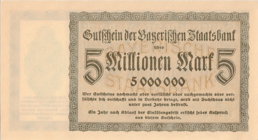 Germany Bavaria Bayerische Staatsbank 5.000.000 Mark 1923 UNC