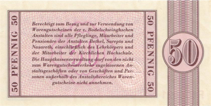 Germany Bethel 50 Pfennig, 1, 2, 5, 10, 20 Mark 6 banknotes 1958-1973 UNC