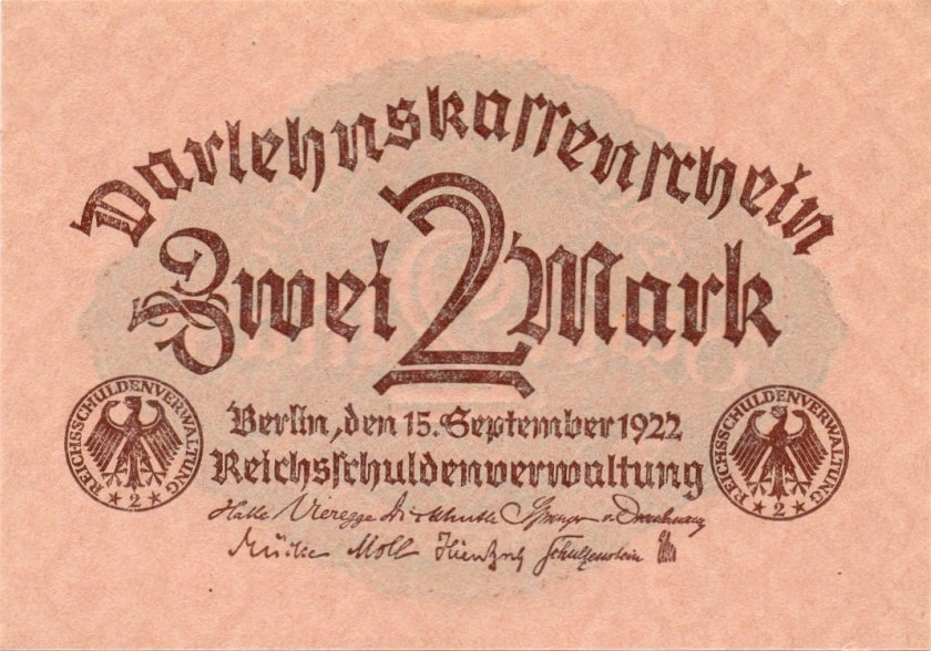 Germany P62 2 Mark 1922 UNC