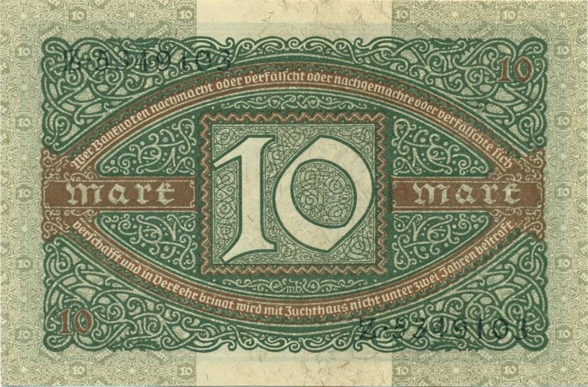 Germany P67a 10 Mark 1920 AU
