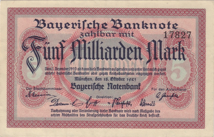 Germany P-S937 5.000.000.000 Mark 1923 AU