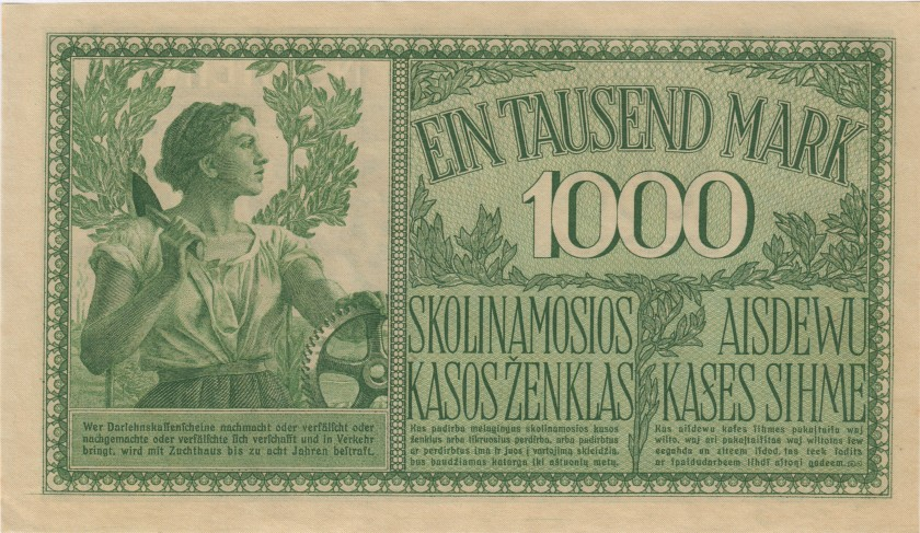 Germany Lithuania P-R134a 1.000 Mark 1918 UNC