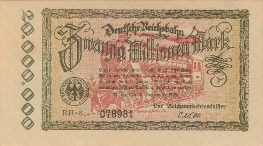 Germany P-S1015(2) 20.000.000 Mark 1923 AU