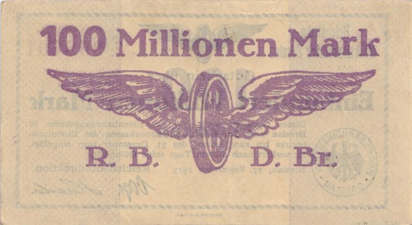 Germany P-S1137 100.000.000 Mark 1923 AU