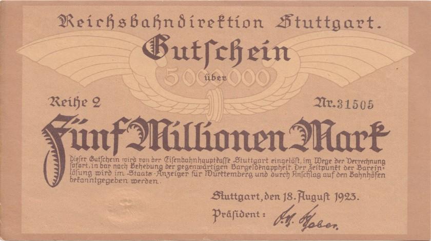 Germany P-S1372b(2) 5.000.000 Mark 1923 AU