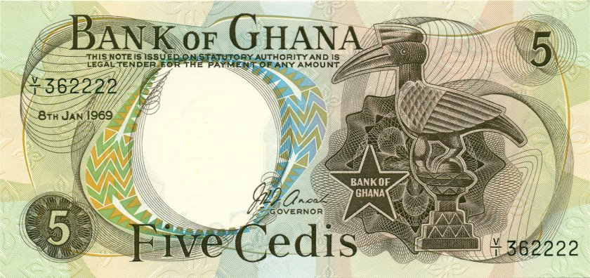Ghana P11b 5 Cedis 1969 UNC