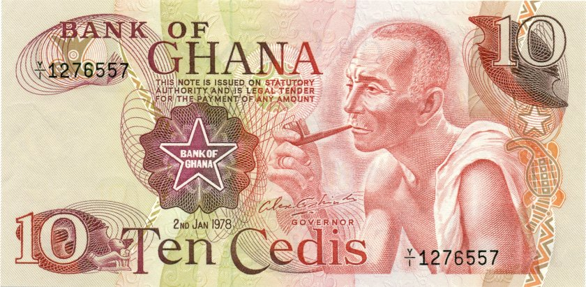 Ghana P16f 10 Cedis 1978