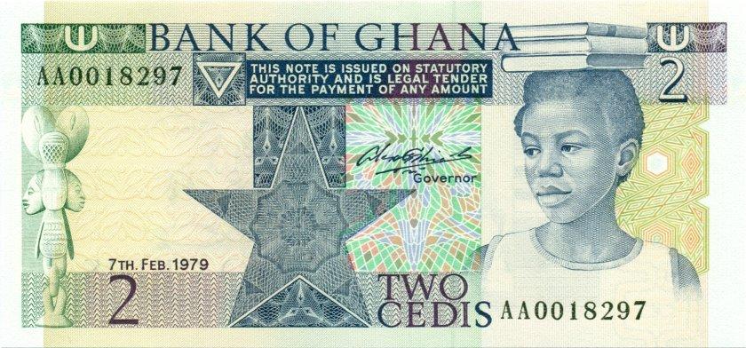 Ghana P18a 2 Cedis 1979 UNC