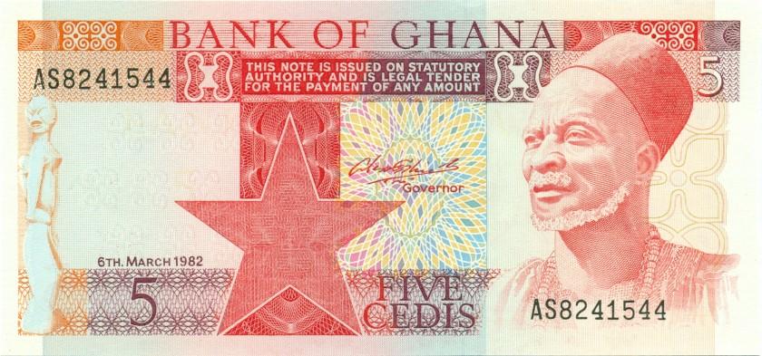 Ghana P19c 5 Cedis 1982 UNC