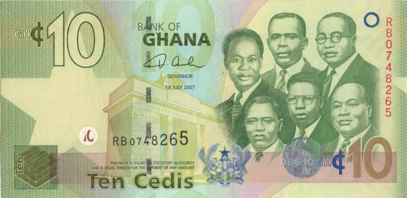 Ghana P39a 10 Cedis 2007 UNC